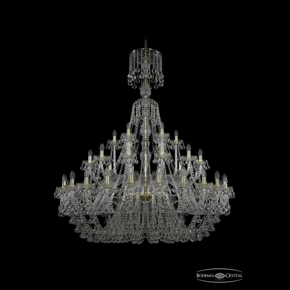 Люстры Большие Bohemia Ivele Crystal Люстра хрустальная 1409/24+12+6/530/XL-169 G
