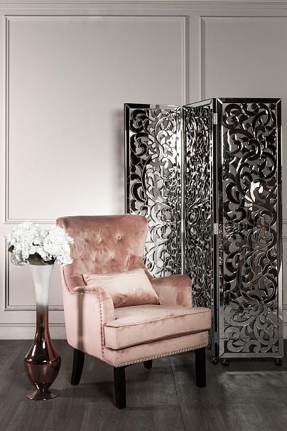 Bohemia Empir Style Кресло велюровое дымчато-розовое (с подушкой) (фото)